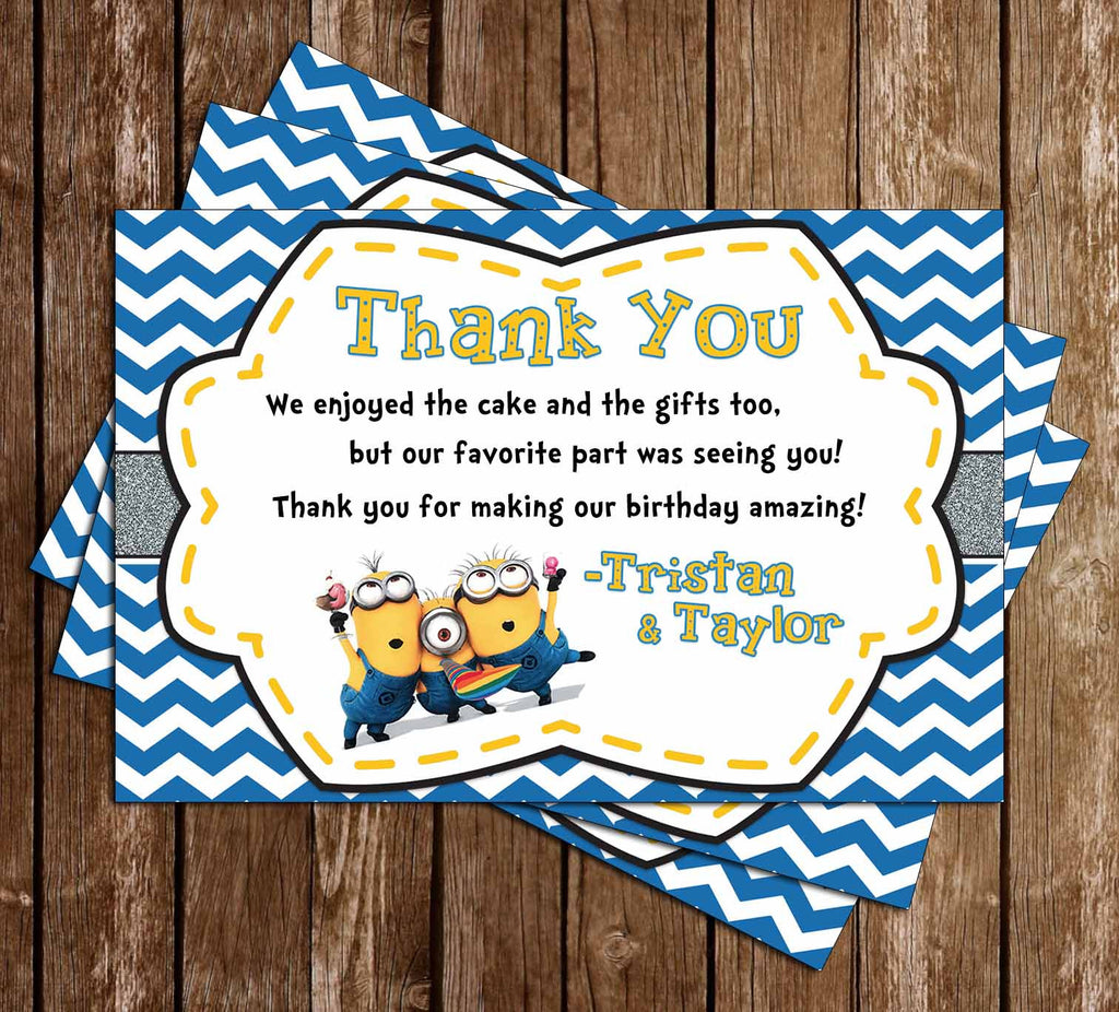 Despicable Me - The Minions - Birthday Thank You Card