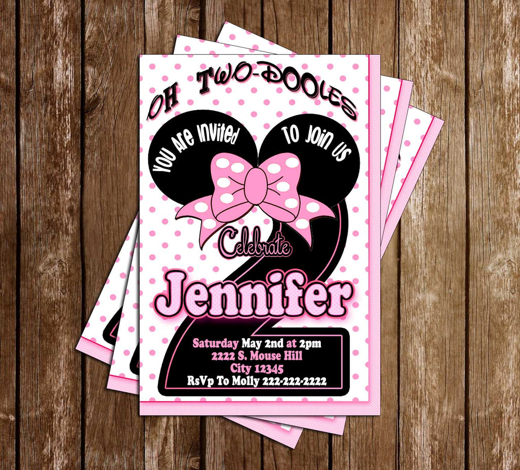 Minnie Mouse - Oh Two-dles - Birthday Party - Invitation