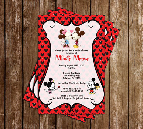Mickey & Minnie Mouse - Bridal Shower - Invitation