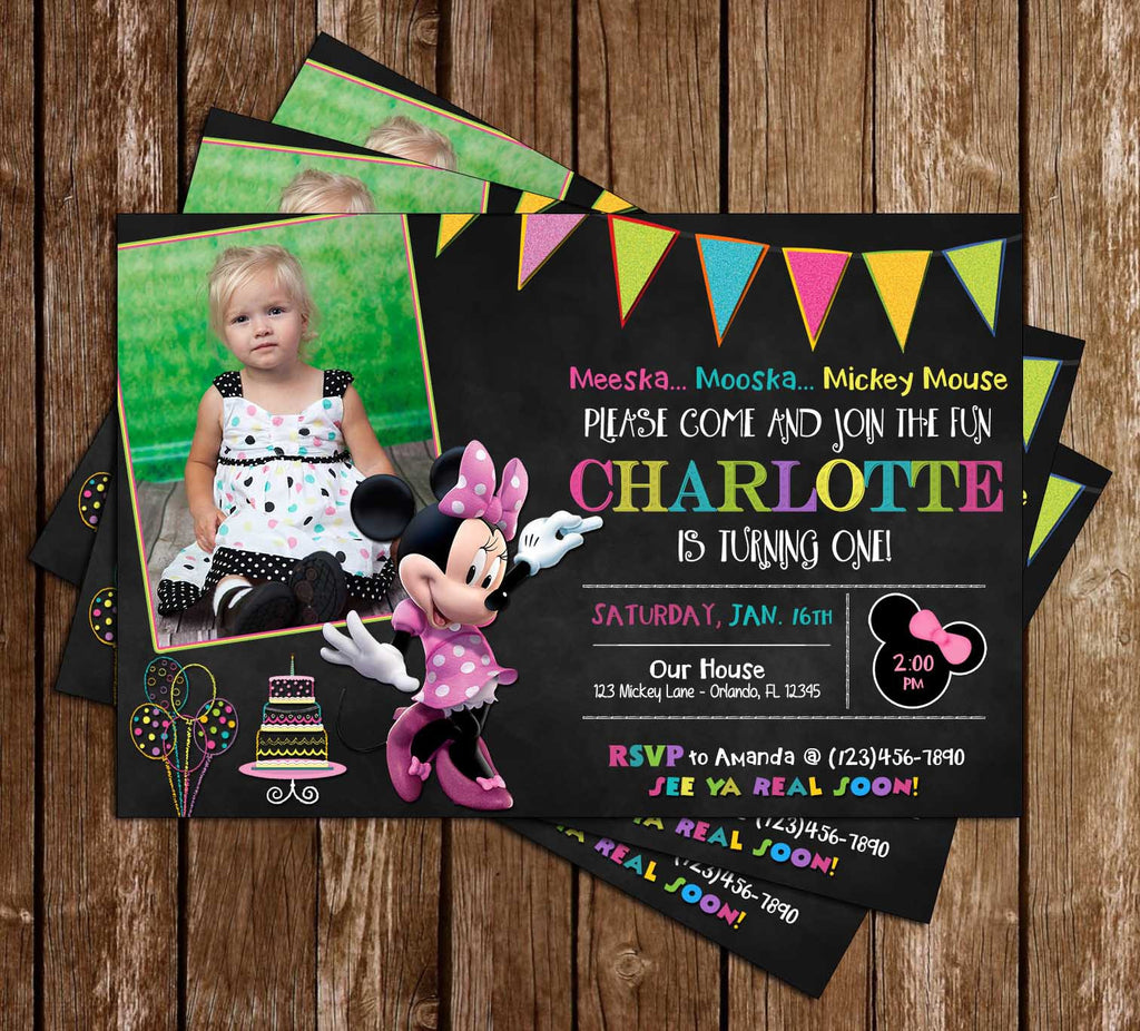Minnie Mouse Chalkboard Birthday Invitation (Photo)