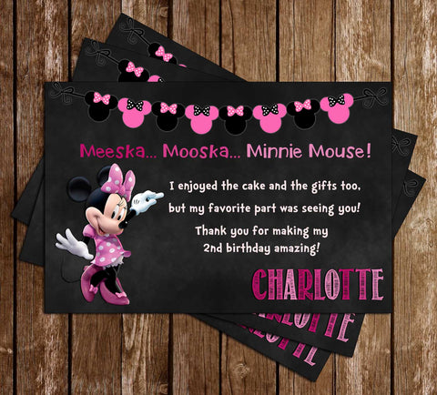 Minnie Mouse - Chalk - Birthday Party - Thank You Card