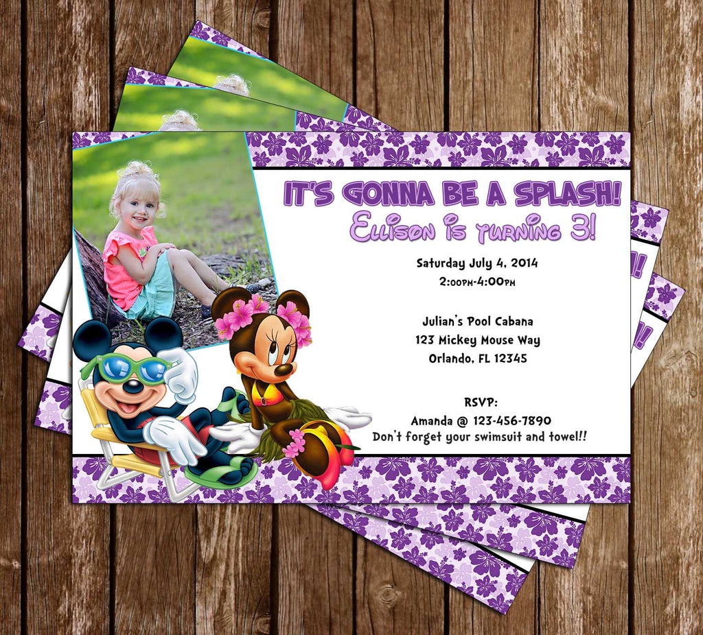 Minnie Mouse Pool Party Invitation with Photo