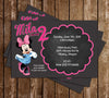 Minnie Mouse - Girls Bow - Birthday Party Invitation