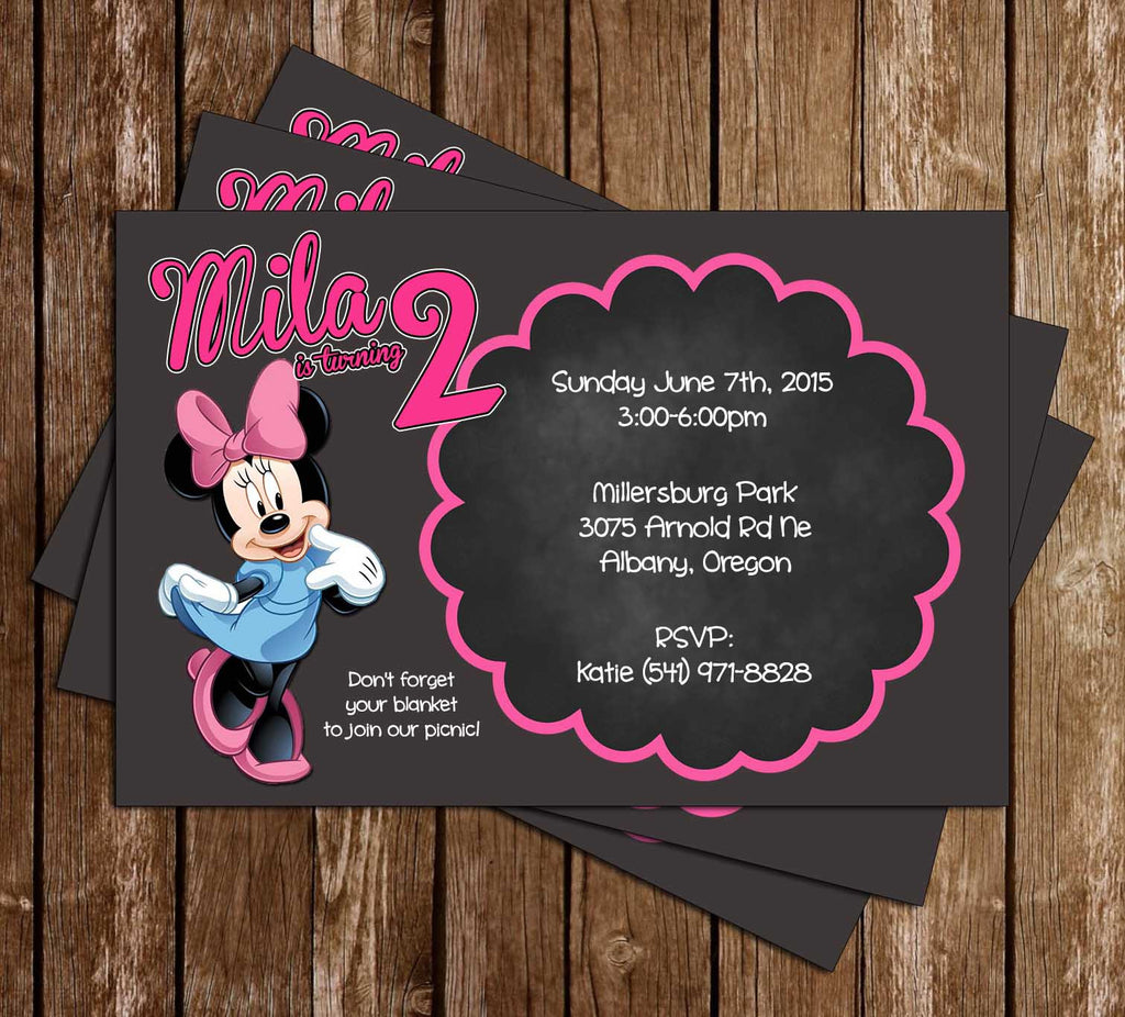 Disney Minnie's Bowtique Birthday Invitation with Photo of Your Child