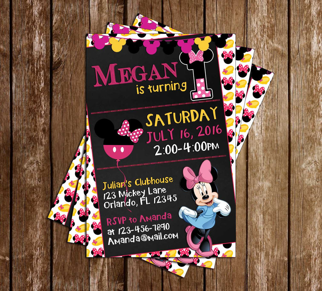 Disney - Minnie Mouse - Tall - Birthday Party Invitation