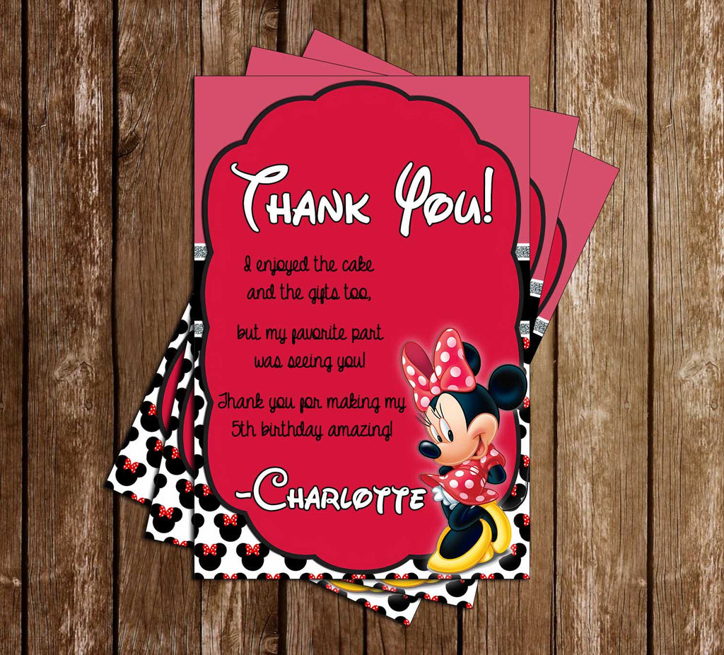 DIsney Minnie Mouse Pink Birthday Thank You Card
