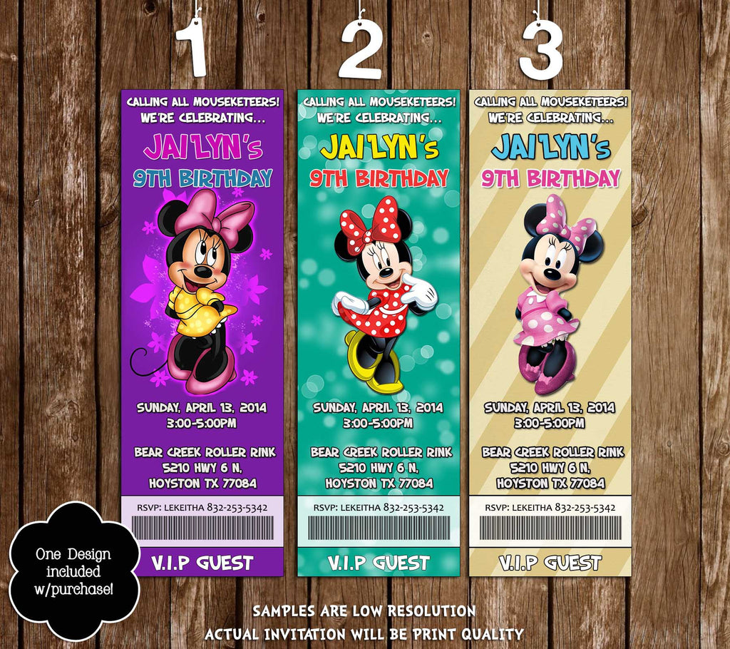 Novel Concept Designs Minnie Mouse Birthday Party Ticket Invitations