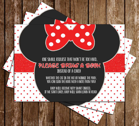 Minnie Mouse - Face - Baby Shower - Bring a Book Insert