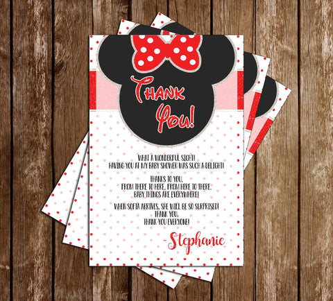 Minnie Mouse - Baby Girl - Baby Shower - Thank You Card