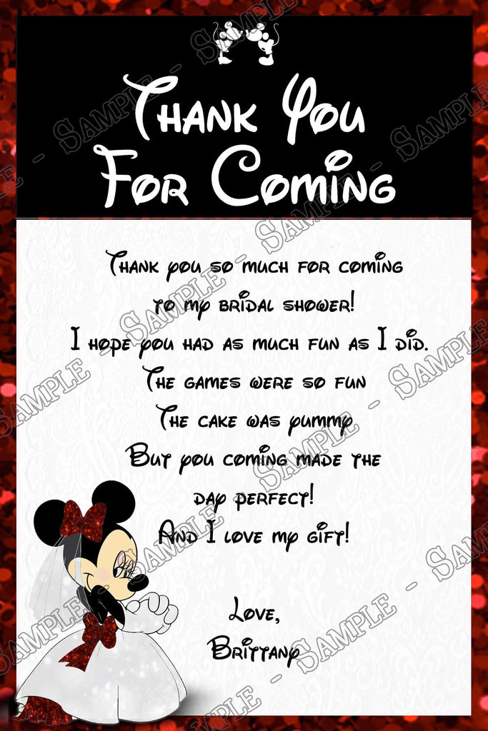 minnie mouse bridal shower thank you card