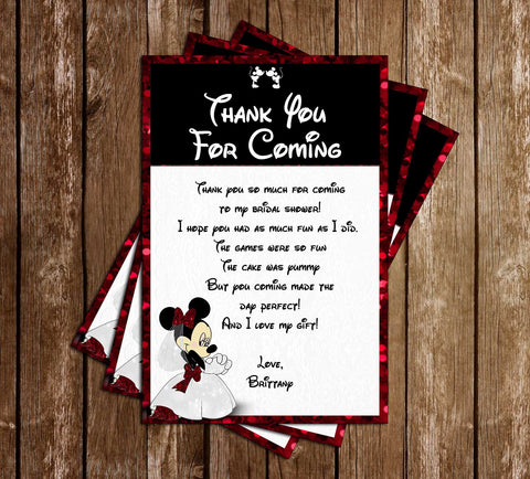Minnie Mouse - Bridal Shower - Thank You Card