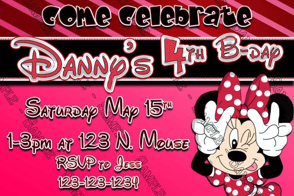 Novel Concept Designs Minnie Mouse Pink Birthday Party Invitation