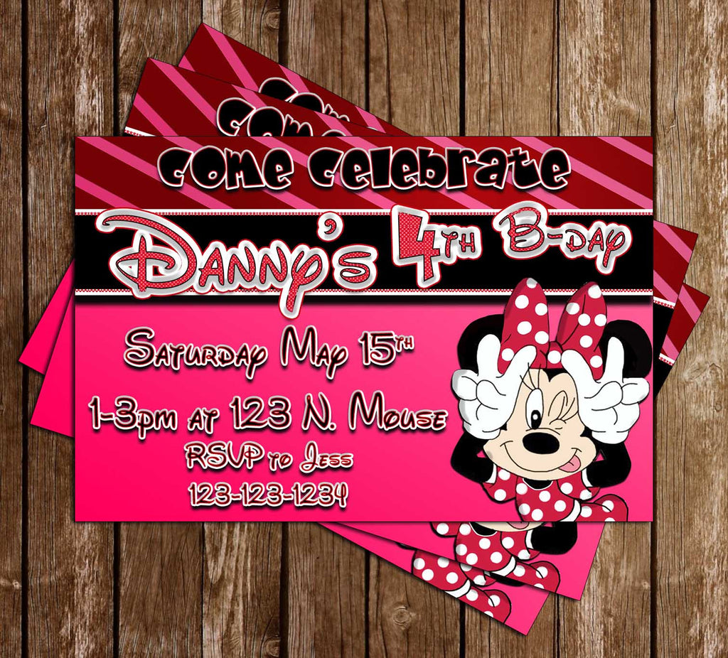 Minnie Mouse - Pink Bow - Birthday Party Invitation