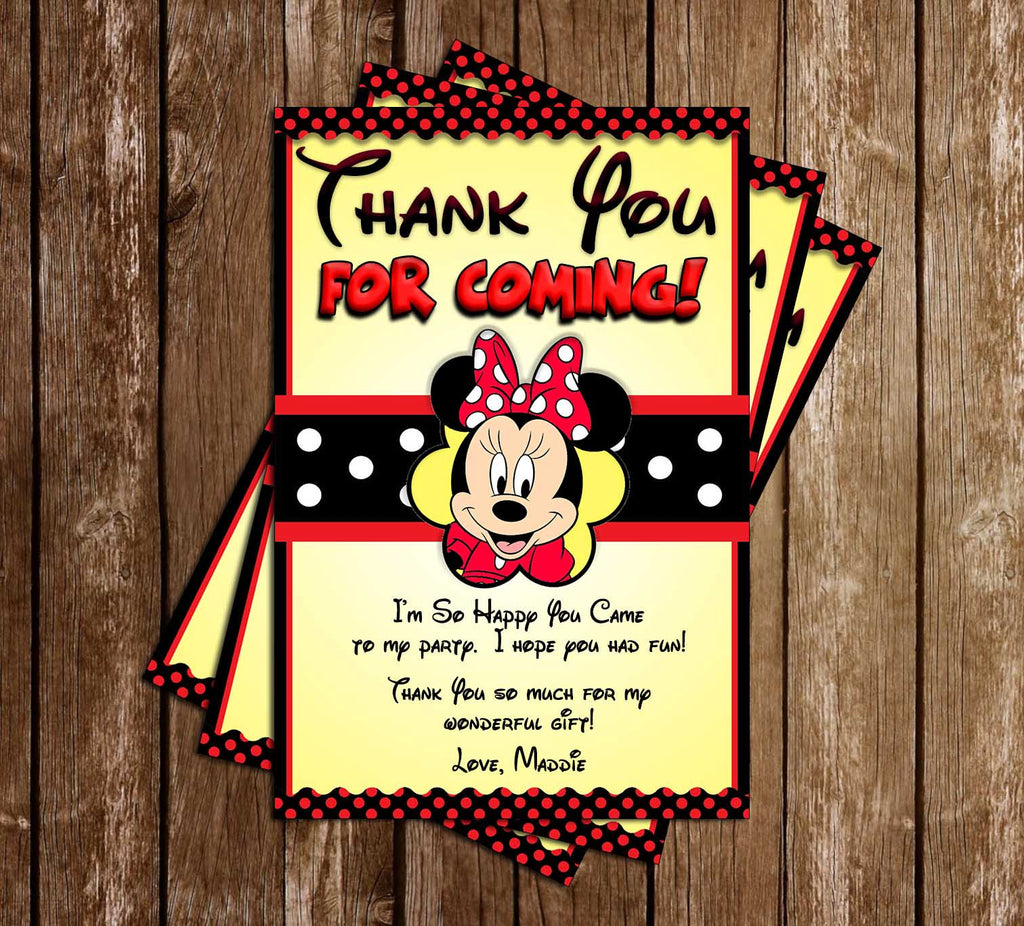Minnie Mouse - Yellow Polka Dots - Birthday Party - Thank You Card