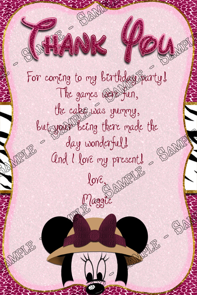 Novel Concept Designs Minnie Mouse Pink Safari Birthday Party