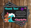Baby Moana - Tall - Birthday Party - Thank You Card