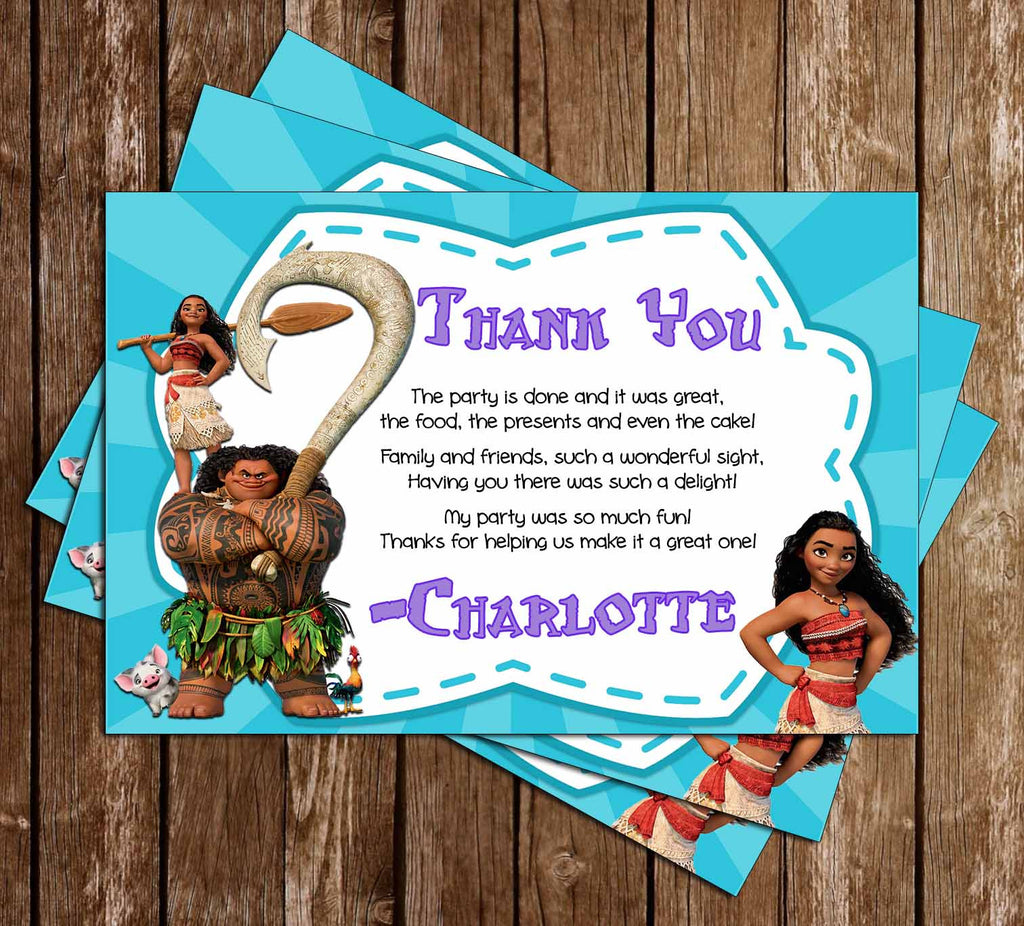 Moana - Disney Movie - Birthday Thank You Card
