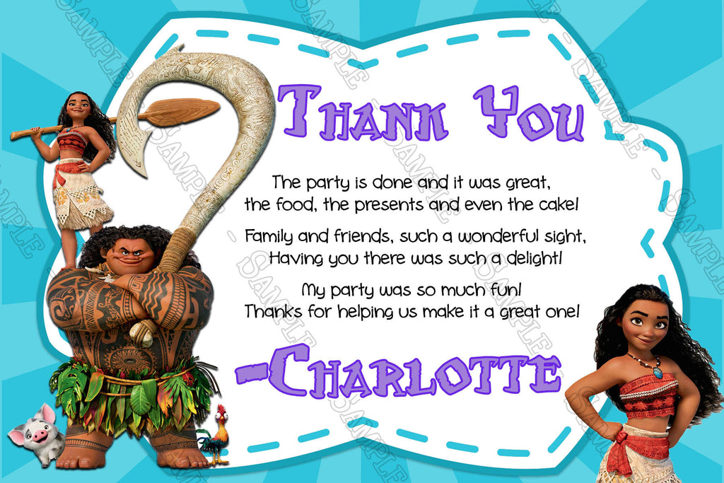 Novel Concept Designs - Disney\'s Moana - Movie - Birthday Thank You Card