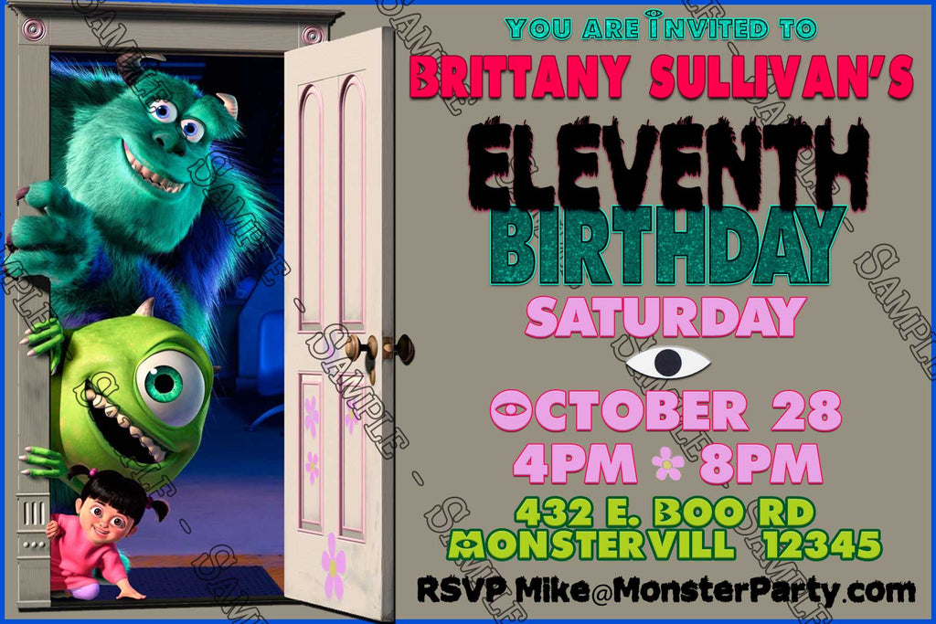 Novel Concept Designs Monsters Inc Door Birthday Party Invitation
