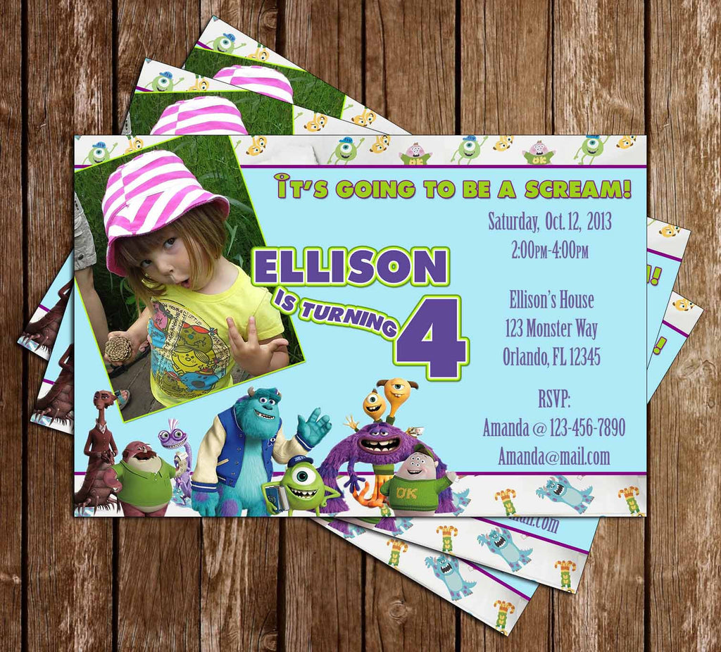Monsters Inc / University Birthday Party Invitation with Photo