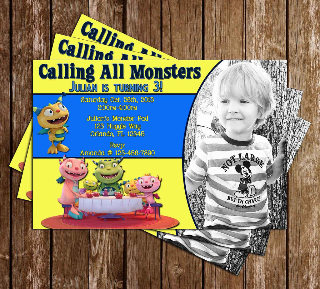 Henry Hugglemonster Birthday Invitation with Photo