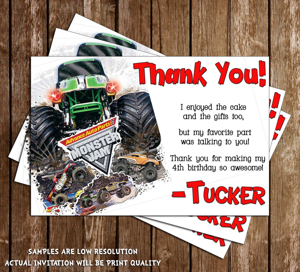 Novel Concept Designs - Monster Jam Birthday Thank You Card (White)