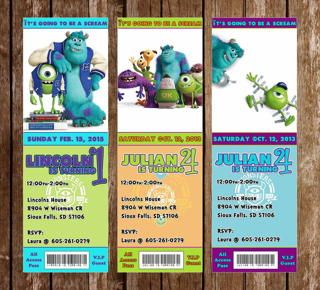 Disney Monsters Inc / University Birthday Party Ticket Invitation