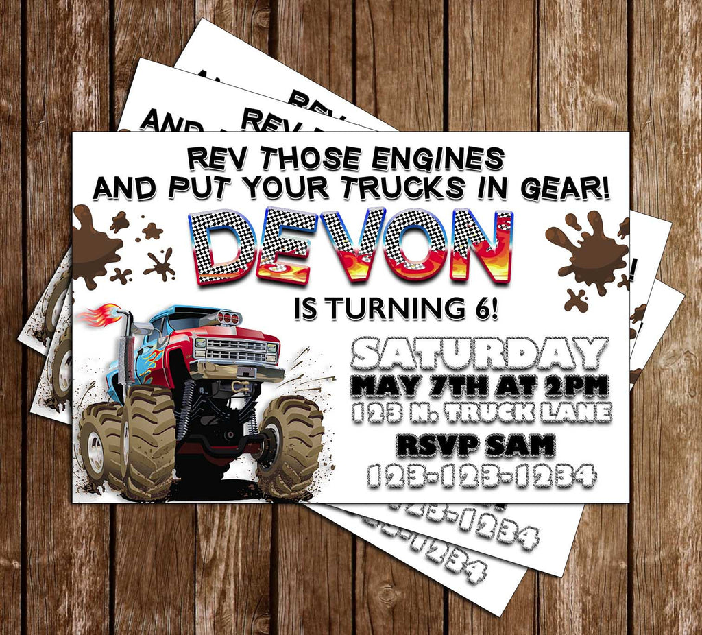 Monster Truck - Mud Trucks - Birthday Party Invitation