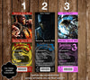 Mortal Kombat: X Game Birthday Party Ticket Invitation