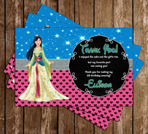 Disney Princess Mulan - Mulan Movie - Birthday Thank You Cards