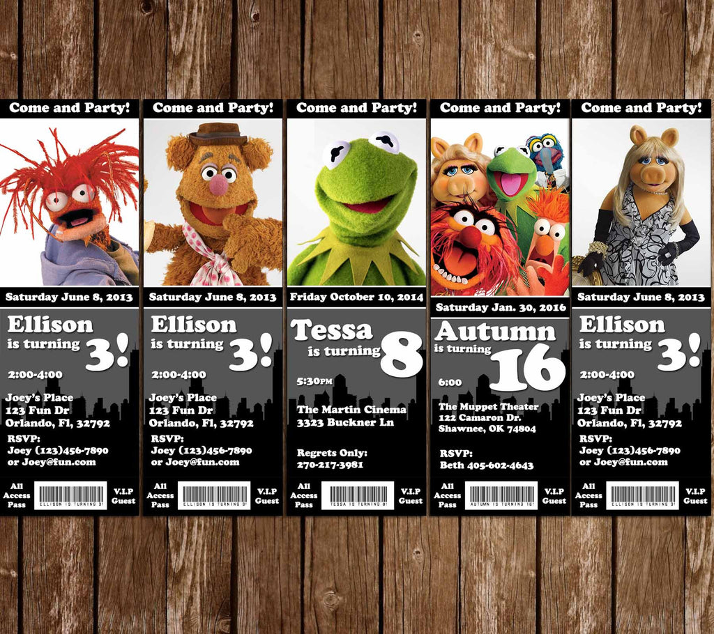 Muppets Birthday Party Ticket Invitation