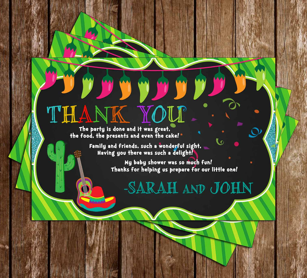 Nacho Average Baby Shower - Fiesta - Baby Shower - Thank You Card