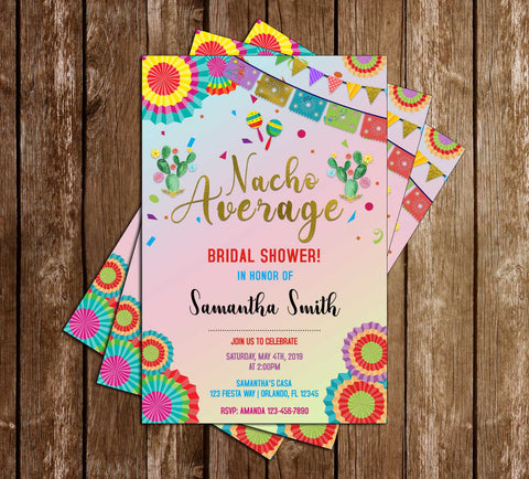 Fiesta - Nacho Average - Bridal Shower - Bright - Invitation