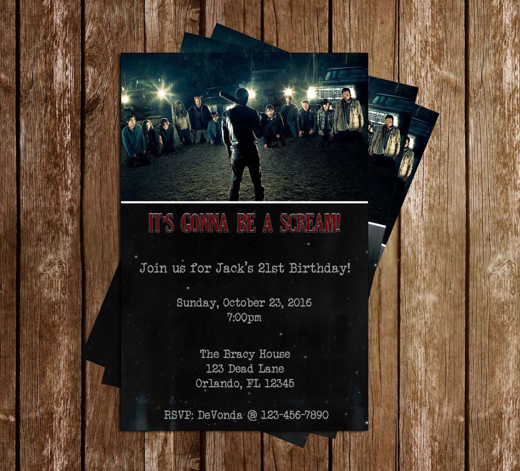 Walking Dead Show Neegan Birthday Party Invitation