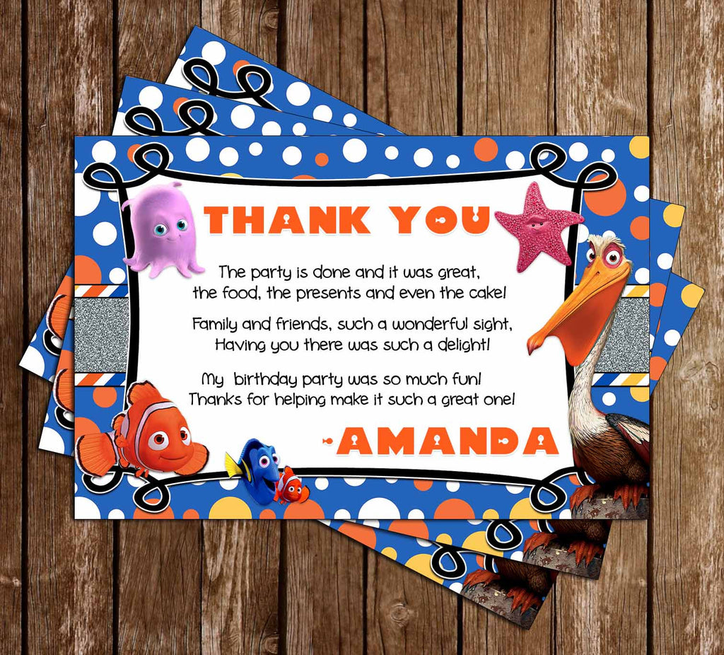 Finding Nemo - Our Little Fish - Birthday Party Thank You Card