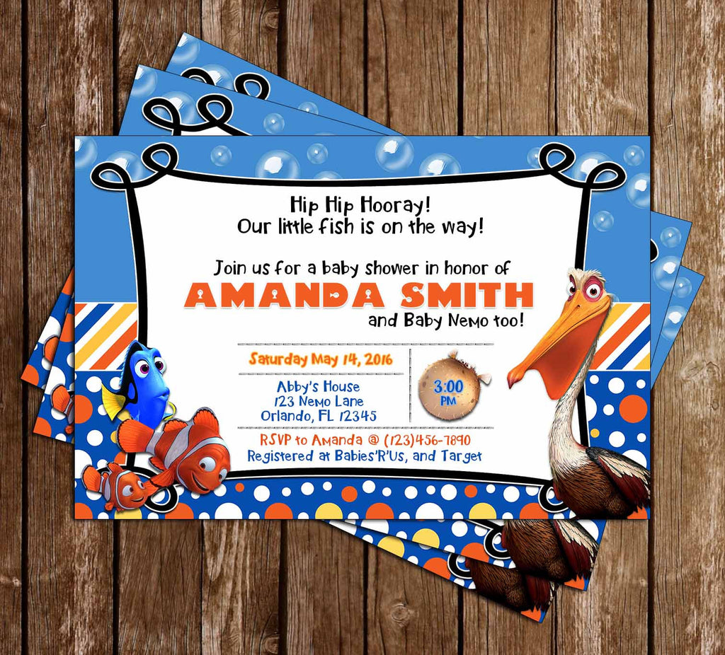 Finding Nemo - Little Fish - Baby Shower Invitation