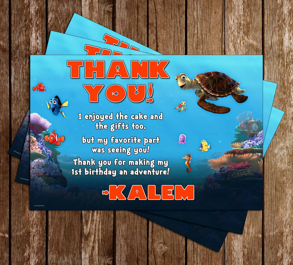 Finding Nemo Birthday Thank You Card (Turtles)
