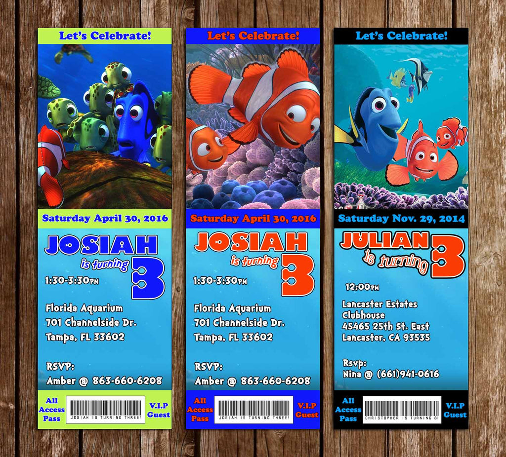 Finding Nemo Birthday Ticket Invitation 3 Designs