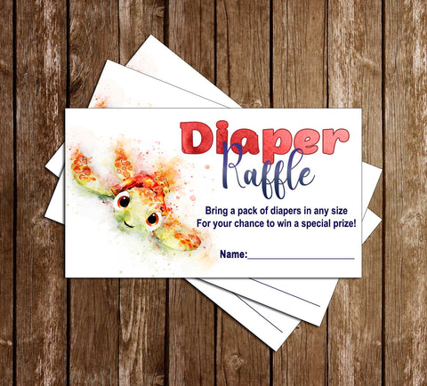 Finding Nemo - Baby Squirt - Baby Shower Diaper Raffle Tickets