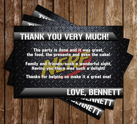 Nerf Gun - Battle - Birthday Party - Thank You Card