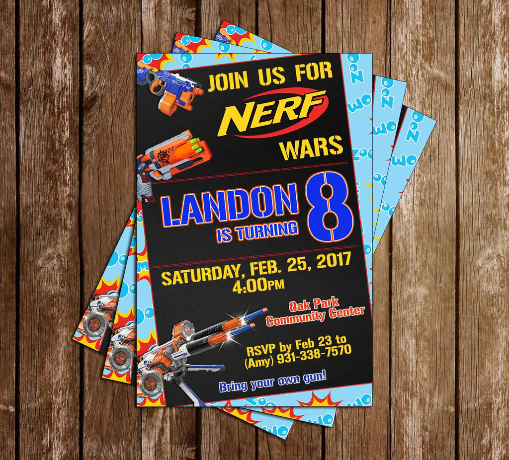 Novel Concept Designs Nerf Gun Tall Birthday Party Invitation