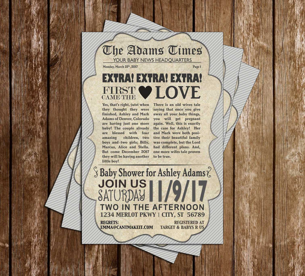 Vintage Newsprint - Newspaper - Baby Shower - Invitation