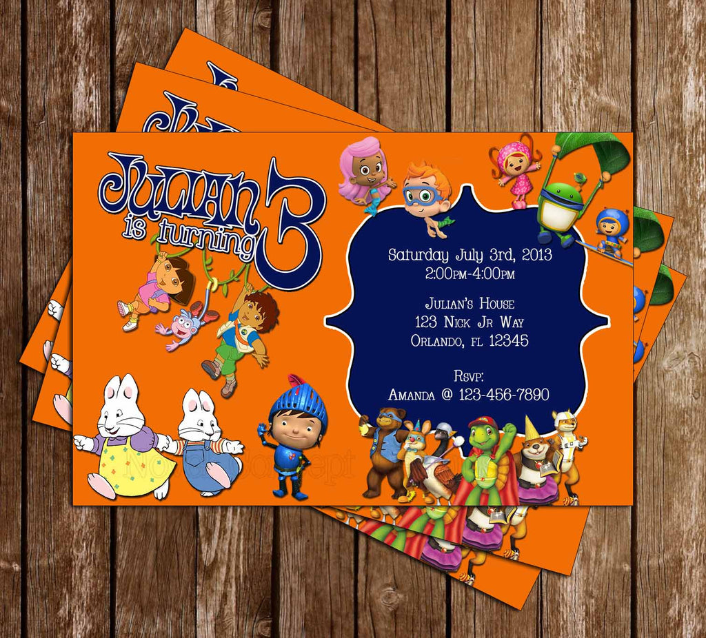 Nick Jr Birthday Party Invitation