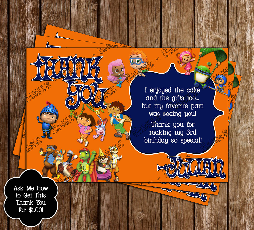 Nick Jr Birthday Party Thank You Card