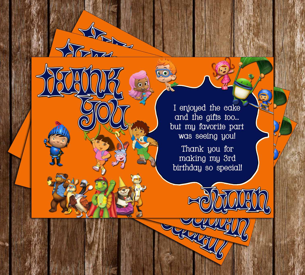 Nickelodeon Nick Jr Show Birthday Party Thank You Card