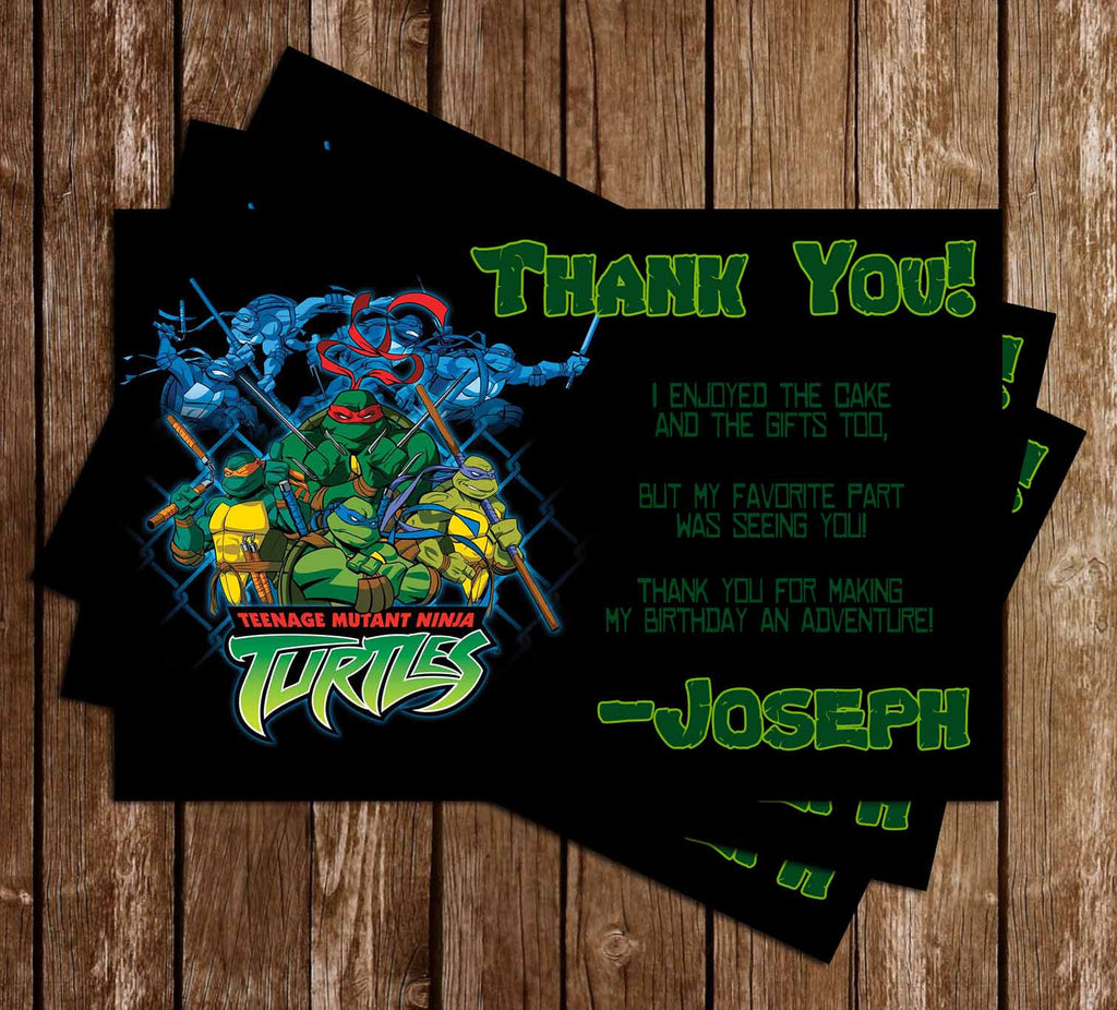 Teenage Mutant Ninja Turtles Show Birthday Thank You Card