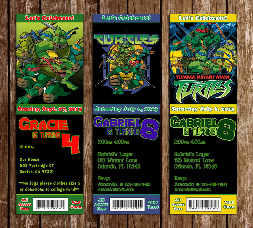 Teenage Mutant Ninja Turtles Show Group Birthday Ticket Invitation