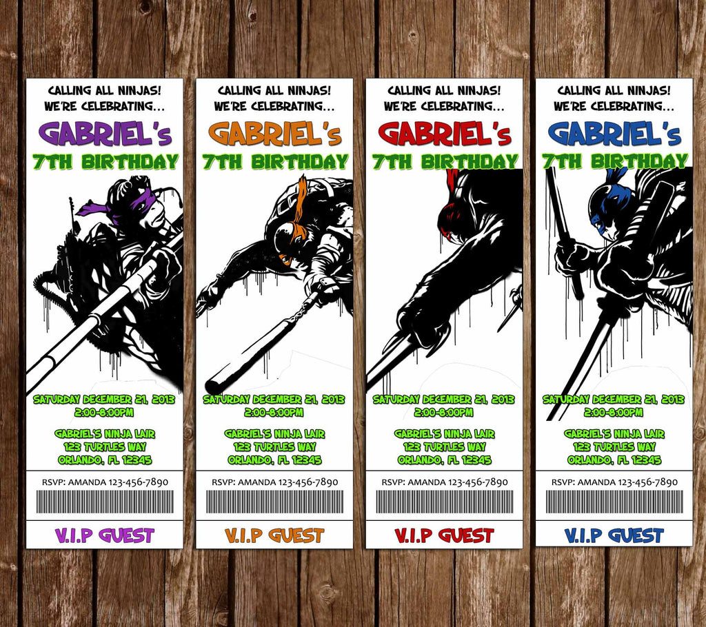 Teenage Mutant Ninja Turtles TNMT Movie Birthday Tickets Invitation