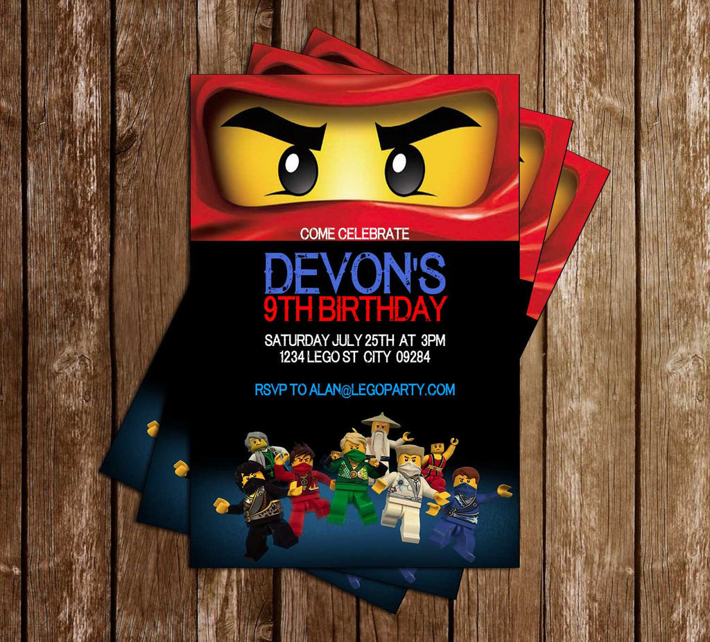 Novel Concept Designs - Lego Ninjago Movie - Birthday Party - Invitation