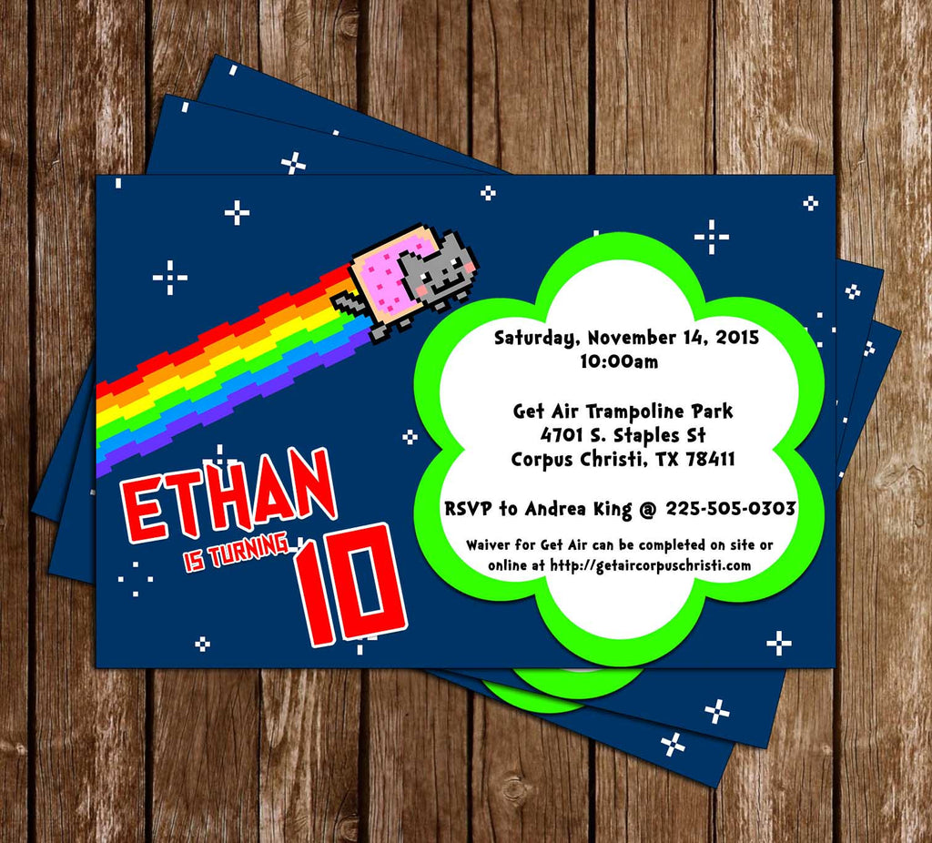 Nylan Cat Birthday Party Invitation